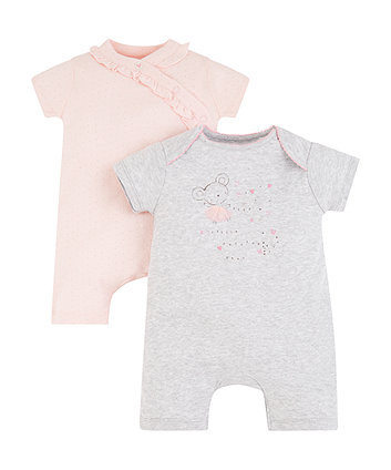 Mothercare My First Bunny Hooded Romper - 2 Pack
