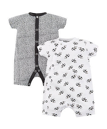 Black And White Cow Romper - 2 Pack