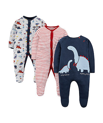 Mothercare Dinosaur And Striped Sleepsuits - 3 Pack
