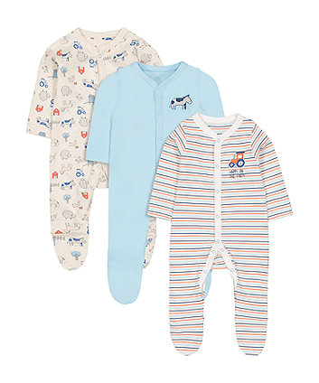 Farm Sleepsuits - 3 Pack