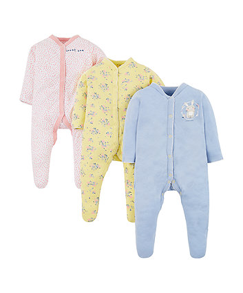 Mothercare Sweet Bunny Sleepsuits - 3 Pack