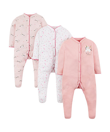 Mothercare Pink Unicorn Sleepsuits - 3 Pack