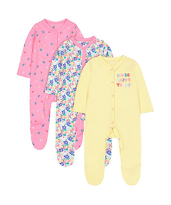 Mothercare Happy Sleepsuits - 3 Pack