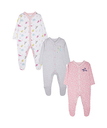 Mothercare Safari Sleepsuits - 3 Pack
