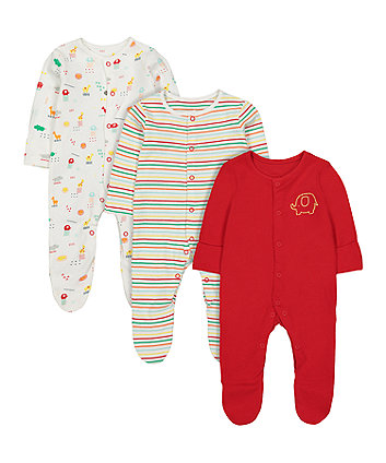 Mothercare Brights Sleepsuits - 3 Pack