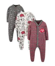 Big Red Bus Sleepsuits - 3 Pack