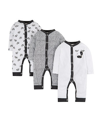 Mothercare Black And White Cow Sleepsuits - 3 Pack