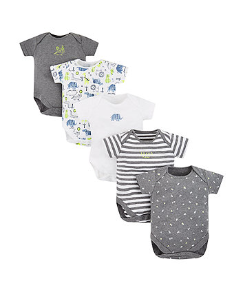 Mothercare Happy Animals Bodysuits - 5 Pack