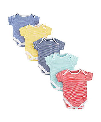 Multi-Coloured Striped Bodysuits - 5 Pack