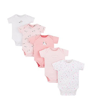Mothercare Pink Unicorn Bodysuits - 5 Pack