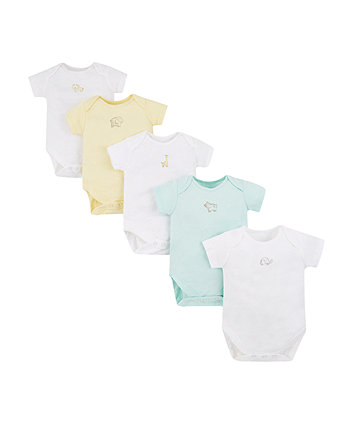 Yellow Elephant Bodysuits - 5 Pack