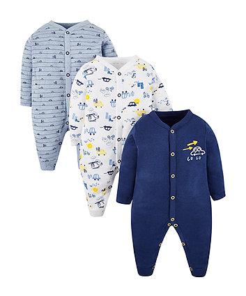 Mothercare On The Road Sleepsuits - 3 Pack