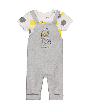 Mothercare Disney Baby Winnie The Pooh Dungaree And Bodysuit Set