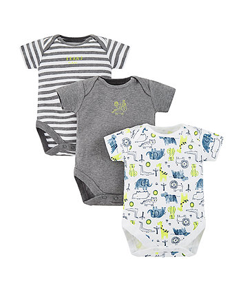 Mothercare Happy Animals Bodysuits - 3 Pack