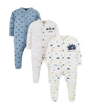 Sleepysaurus Dinosaur Sleepsuits - 3 Pack