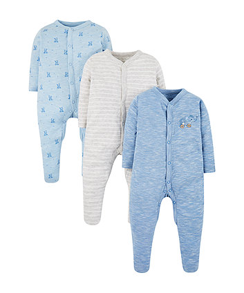 My First Blue Sleepsuits - 3 Pack