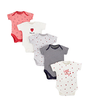 Mothercare Strawberry Bodysuits - 5 Pack