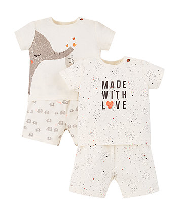Elephant And Made With Love Shortie Pyjamas - 2 Pack