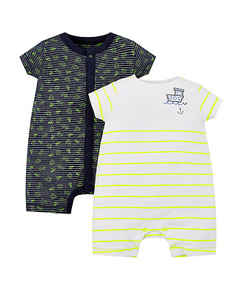 Stripe And Boat Rompers - 2 Pack