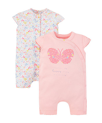 Summer Butterfly And Floral Rompers -2 Pack
