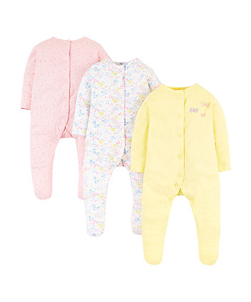 Summer Floral Sleepsuits - 3 Pack