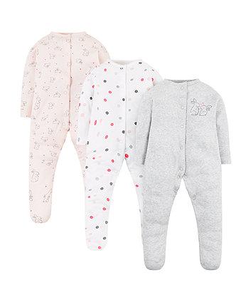 Sweet Dreams Bunny Sleepsuits - 3 Pack