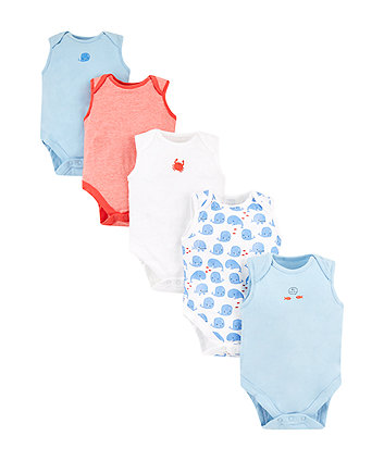 Mothercare Whale Bodysuits – 5 Pack