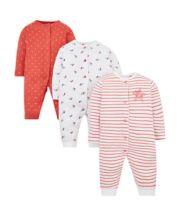 Seaside Floral Footless Sleepsuits - 3 Pack