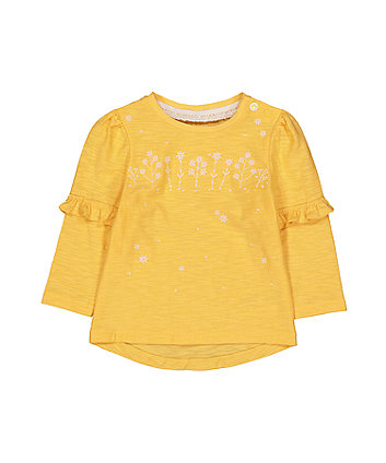 Mothercare Yellow Embroidered Frill T-Shirt
