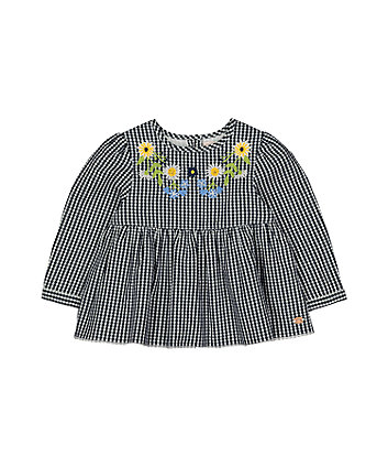 Blue Gingham Embroidered Blouse