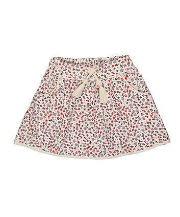 Mothercare Red And Grey Floral Skirt