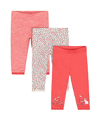Mothercare Coral Bunny Leggings - 3 Pack