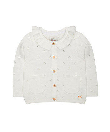 Mothercare White Pointelle Frill Cardigan