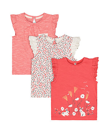 Mothercare Coral Bunny T-Shirts - 3 Pack