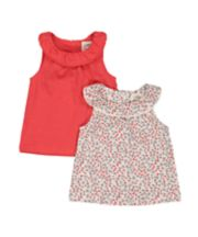 Mothercare Coral And Floral Vest T-Shirts - 2 Pack