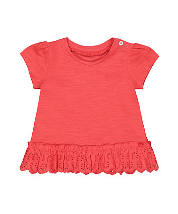 Mothercare Coral Broderie Frill T-Shirt