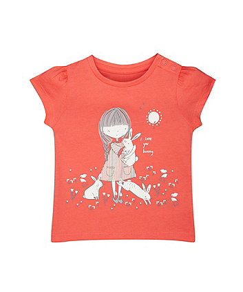 Girl And Bunnies Coral T-Shirt