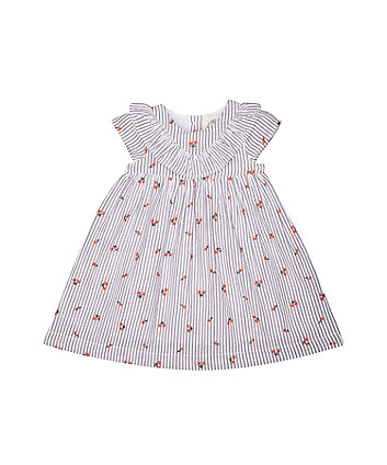 Mothercare White And Grey Stripe Frill Dress