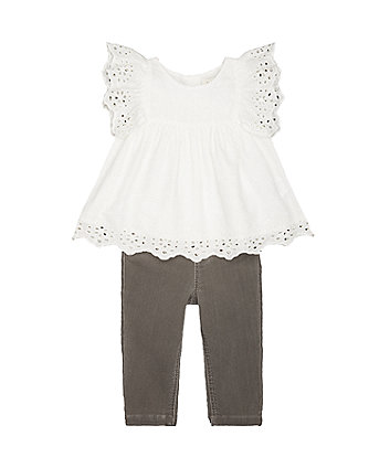 Mothercare Coral Blouse And Grey Leggings Set
