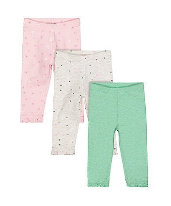 Flower And Spot Leggings - 3 Pack