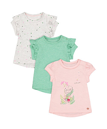 Floral, Spot And Green T-Shirts - 3 Pack