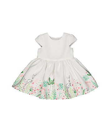 Mothercare White Floral Border Dress
