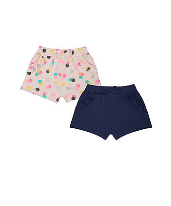 Mothercare Pink Spot Frill Shorts - 2 Pack