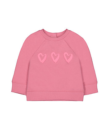 Mothercare Pink Heart Sweat Top And Grey Polka Dot Hoodie - 2 Pack