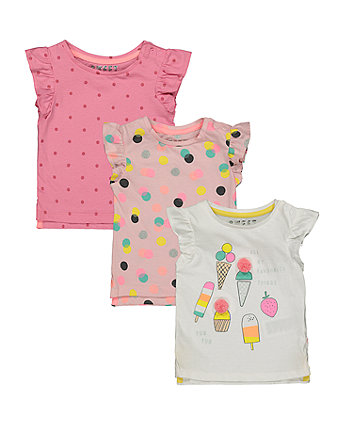 Mothercare Ice Cream And Spot T-Shirts - 3 Pack