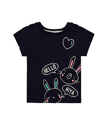 Mothercare Hello Bunny Navy T-Shirt