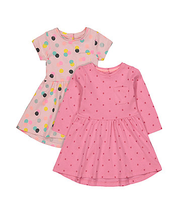 Mothercare Pink Spot Dress - 2 Pack