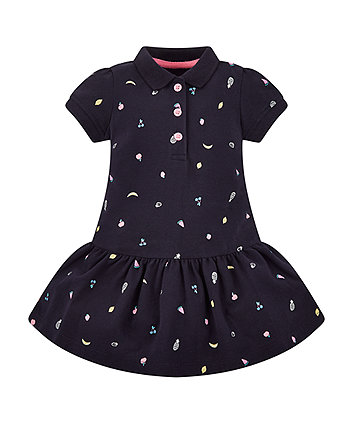 Mothercare Navy Fruit Print Polo Dress