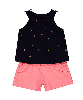 Mothercare Fruit Navy Vest And Pink Shorts Set