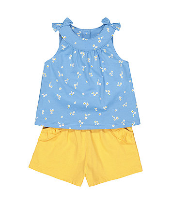Blue Daisy Vest And Shorts Set